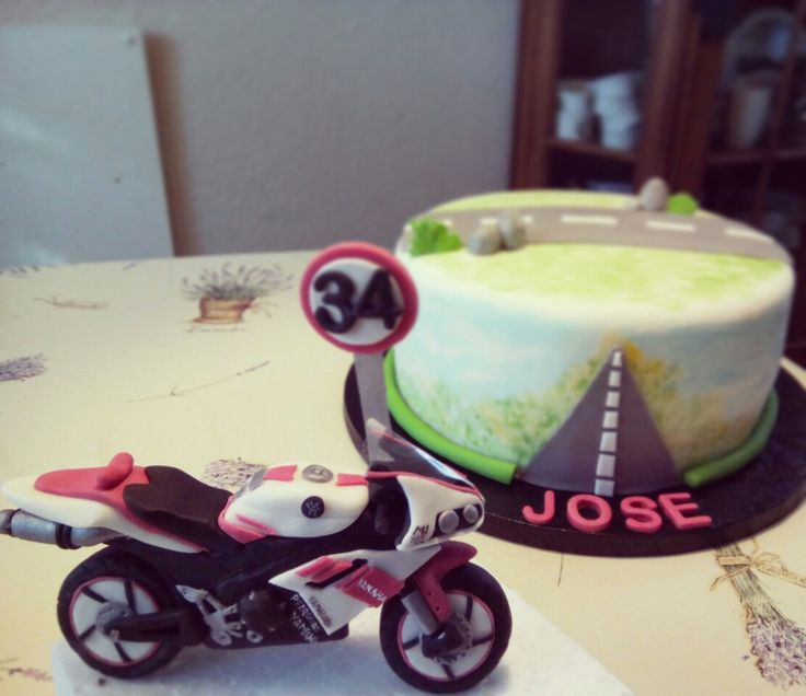Motorbike Cake and topper
