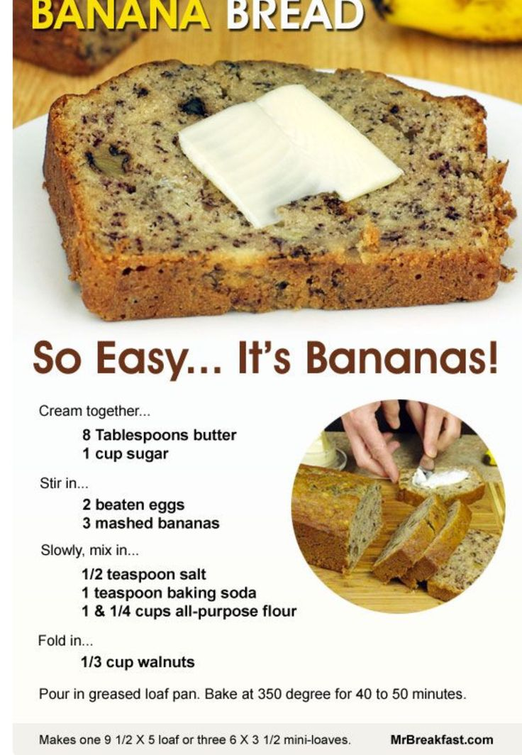 Homemade easy recipe for banana nut bread