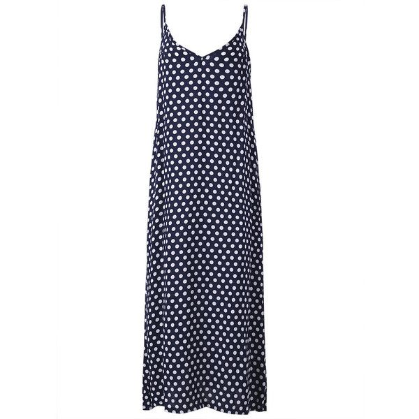 Sexy  Sleeveless Strap Polka Dot Backless V Neck Summer Beach Dress ($14) ❤ liked on Polyvore featuring dresses, long sleeve dress, sexy white dresses, sexy long dresses, sexy beach dresses and beach dresses
