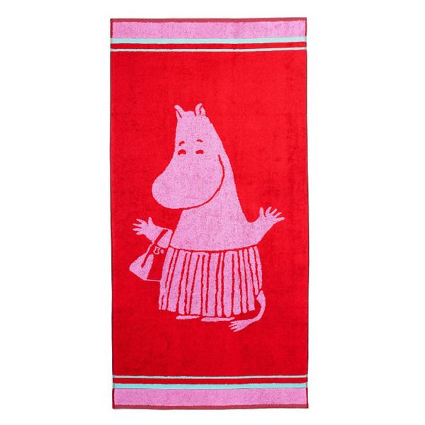 Make your bathroom look more inviting and friendly with this pink and red Moominmamma towel. Enjoy your moments with this beautiful towel. The Moomin-towels are inspired by Tove Jansson's original drawings and are authentic ©Moomin Characters™ licensed products.