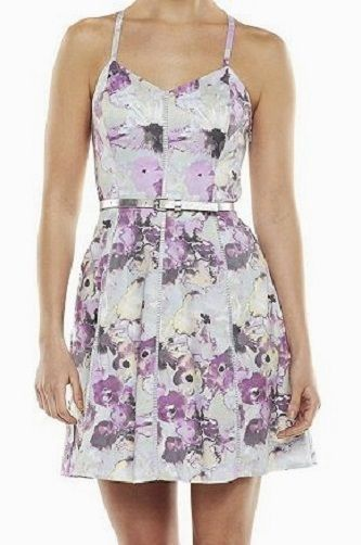 """Womens 0 Dress NEW NWT Floral with Belt CANDIES Lily Purple Sundress Juniors XS #Candies BRAND NEW dress by CANDIE'S, size 0. It is a fully lined """"watercolor lily purple"""" and grey floral print dress with a matching and removable silver belt and a side zipper closure (see several photos above). It measures about 34"""" in length from shoulder to the hem"""