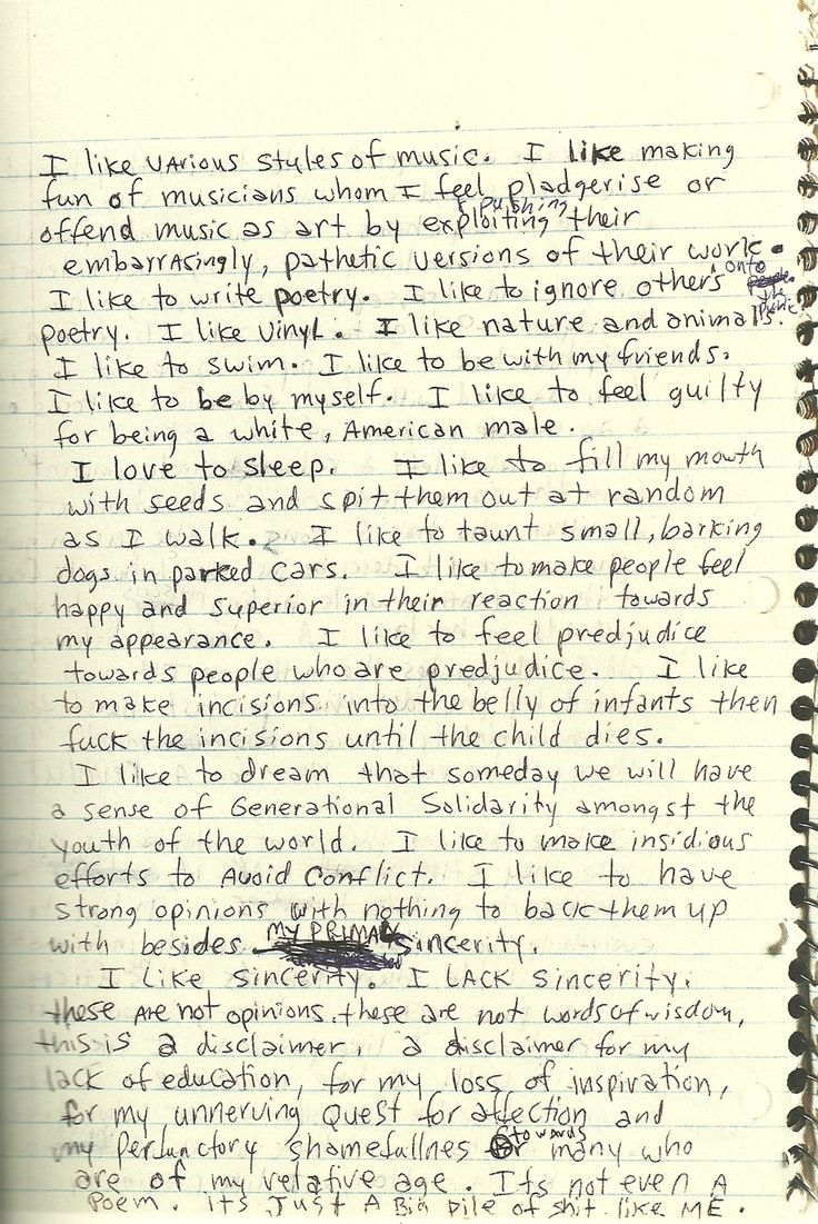 "A page from Kurt Cobain's Journals. ""I like to fill my mouth with seeds and spit them out at random as I walk"""