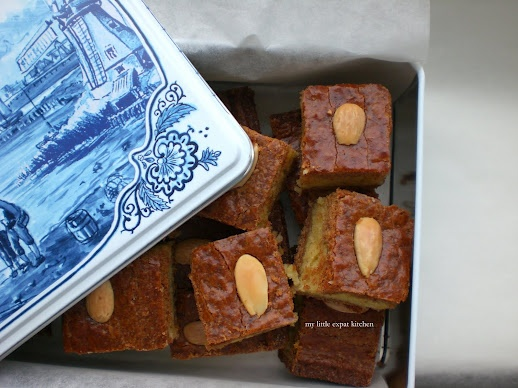 Gevulde Speculaas, Dutch speculaas cake filled with almond paste.