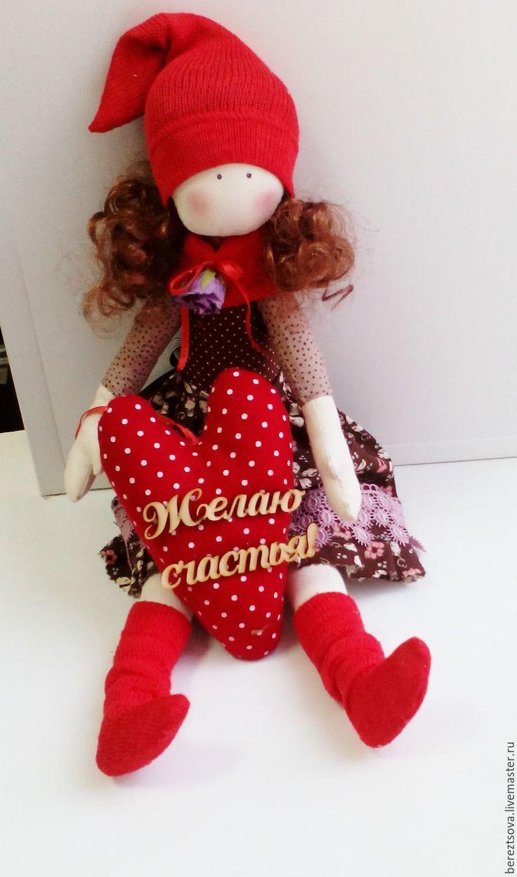 Купить Гномочка осенняя) - ярко-красный, куколка, кукла ручной работы, кукла в подарок