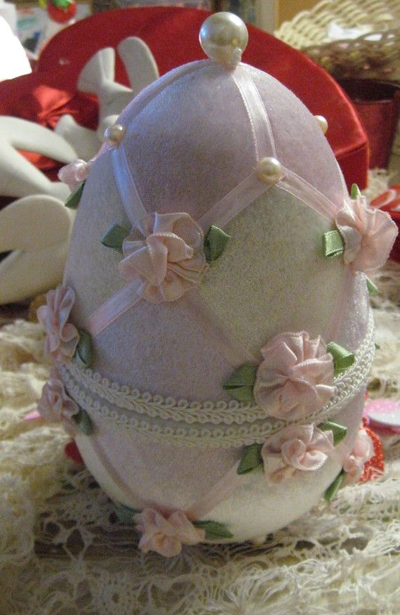 Easter Egg Large Pink white pearls ribbon velvet and by MOJEART