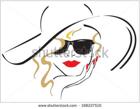 Woman with red lips and red nails wearing a hat and sun glasses