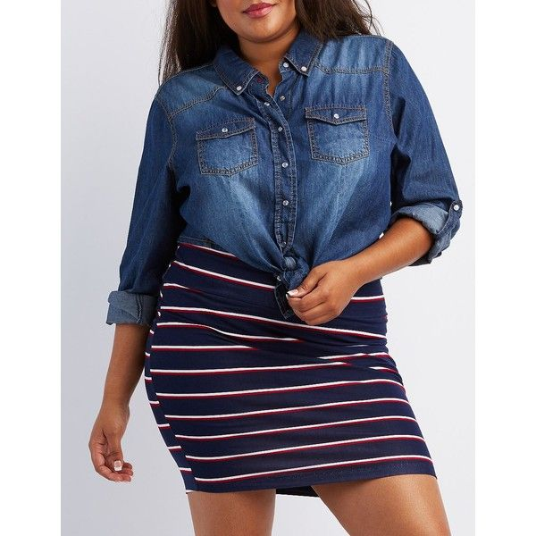 Charlotte Russe Striped Bodycon Mini Skirt ($14) ❤ liked on Polyvore featuring plus size women's fashion, plus size clothing, plus size skirts, plus size mini skirts, navy combo, high-waisted pencil skirts, sexy mini skirt, navy blue skirt, high waisted mini skirt and short mini skirts