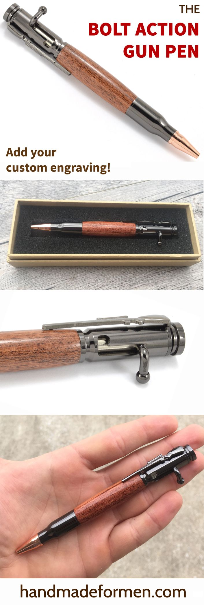 Great Gun Gifts for Him! This wood bolt action pen is the perfect gift for any gun enthusiast! $39 or add your custom engraving for just $10! See handmadeformen.com to order.