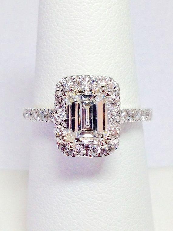 1.00CT Diamond Emerald Cut Halo Engagement Ring Anniversary Band Wedding Bands Rings Diamonds Platinum, 18K, 14K White, Yellow, Rose Gold More