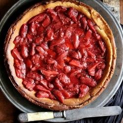 Vanilla Quark #cheesecake with roasted balsamic #strawberries