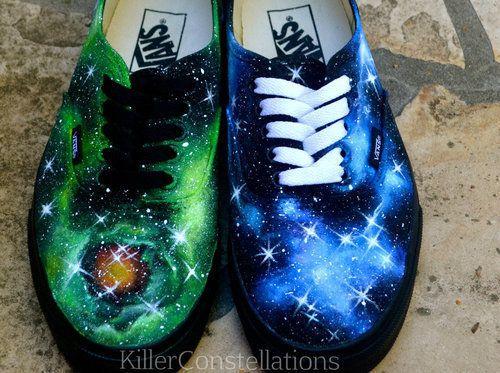 Custom Vans in a blue and green galaxy pattern? OMG #INGRESS