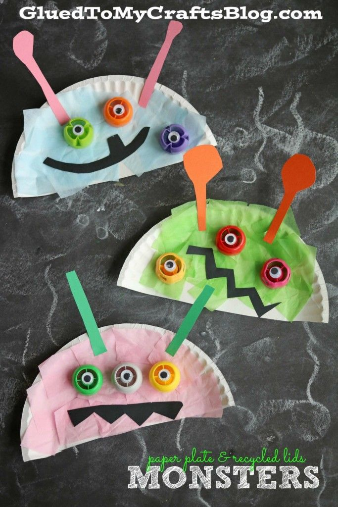Paper Plate u0026 Recycled Lid Monsters - Kid Craft & 220 best Paper Plate Crafts images on Pinterest | Crafts for kids ...