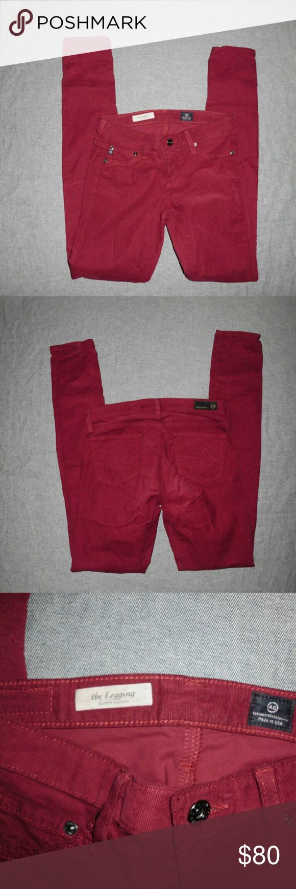 AG Adriano Goldschmied Corduroy Leggings Size 25R Gorgeous corduroy leggings Super Skinny in a beautiful vivid color. Pants are in a excellent Pre-loved condition. AG Adriano Goldschmied Pants Leggings