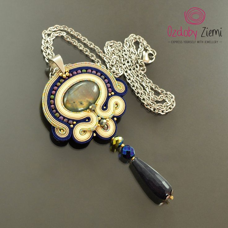 Navy blue beige Soutache Pendant 'Bilan' with labradorite, labradorite pendant, unique creamy necklace, long necklace, statement necklace by OzdobyZiemi on Etsy