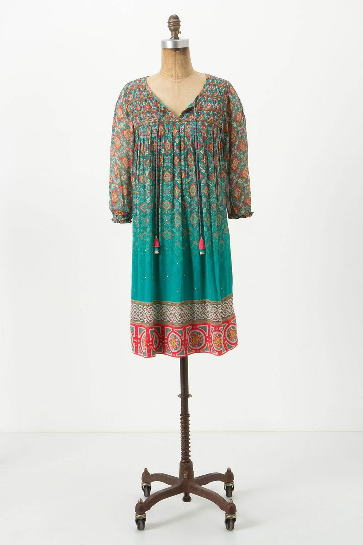 """$198The traditional print of this easy, peasant-style silhouette is embellished with beaded bands and a smattering of sequins, before it dissolves into solid teal above the hem. An Anthropologie exclusive from Tanvi Kedia, who describes the """"hippie deluxe"""" aesthetic of her collection as the confluence folklore, fantasy and non-conformist glamour: Dresses Clothing, Birthday Dresses, Dresses Anthropology, Glimmer Ankita, Dresses Style, Black Dresses, Cute Dresses, Ankita Dresses, Anthropologie Com"""