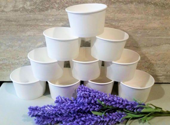 50 White paper 8oz/200ml ice-cream cup bowls/cups  white