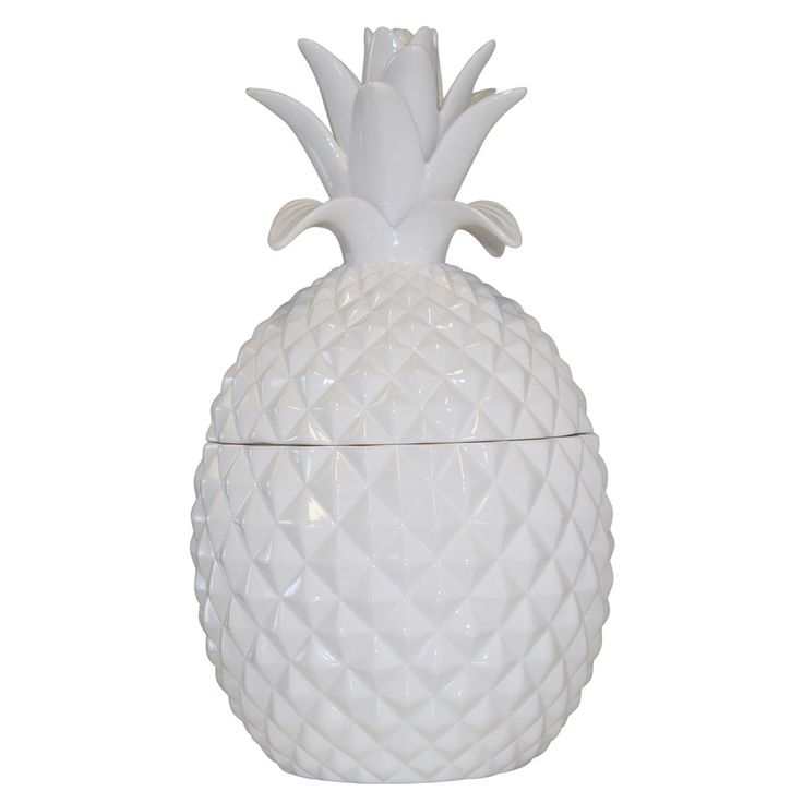 Hard To Find Monochrome Style. White ceramic pineapple jar-large - cute biscuit jar