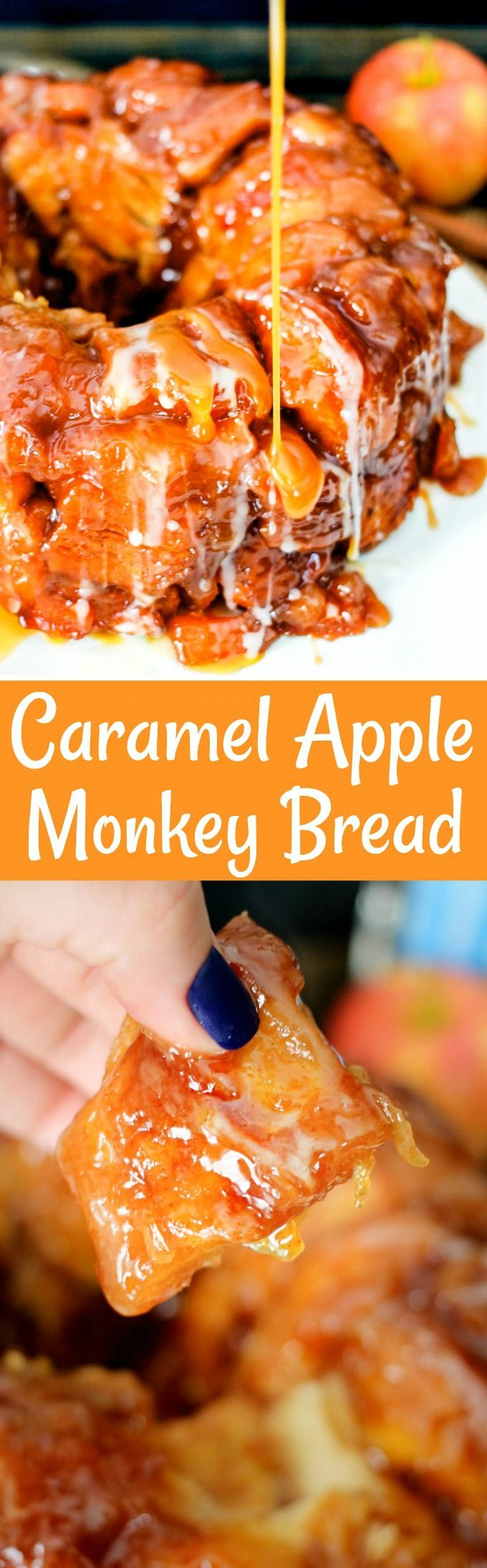 Loaded with caramel, apples, and brown sugar, this Caramel Apple Monkey Bread will be everyone's favorite fall treat! Serve it for breakfast or dessert!