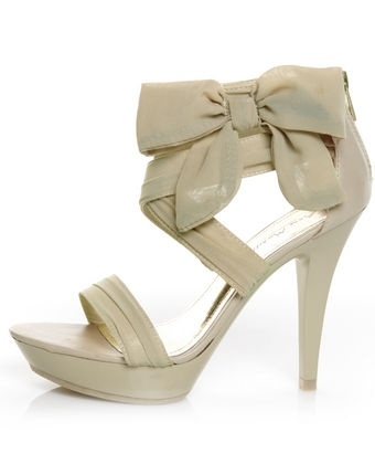 Anne Michelle Clubbin 81 Natural Chiffon Show-Bow-tin Pumps - $36.00 - StyleSays