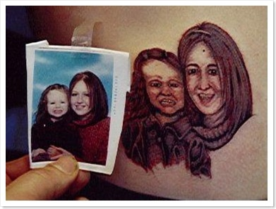 Family picture with your daughter...$29.95.....get a messed up tattoo that makes her look possessed....priceless
