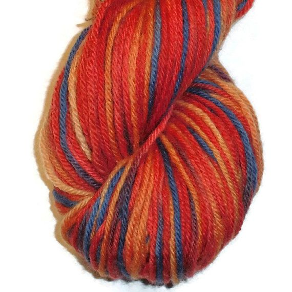 """Handdyed Combed Wool DK Weight Yarn, For Medium Weight Garment 4-ply, """"Christmas Fruit"""""""