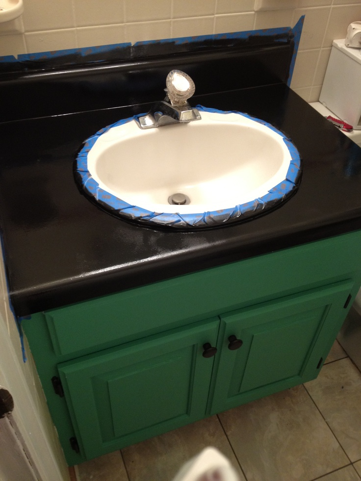 This is the new bathroom vanity. Used countertop paint designed for ...