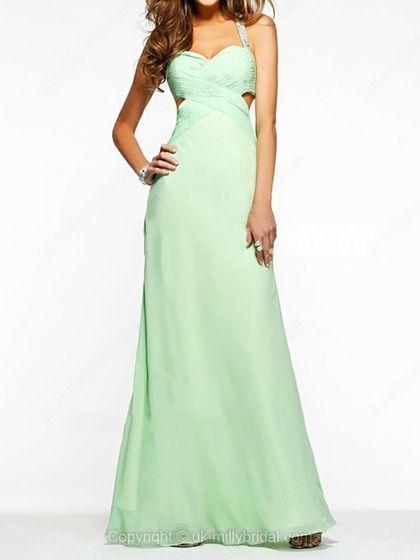 Sheath/Column Straps Chiffon Floor-length Beading Prom Dresses -USD$183.88