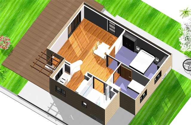 maison conteneur eloa fun une maison modulaire quip e maison logement conteneur house. Black Bedroom Furniture Sets. Home Design Ideas