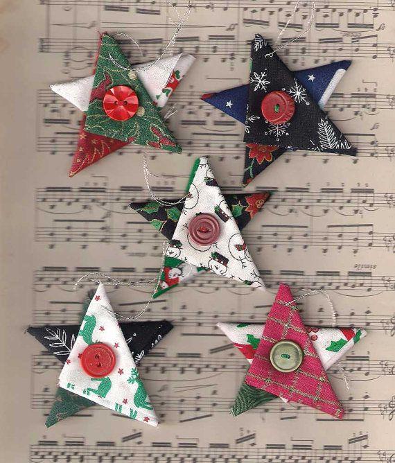 Ornements de Noël, étoile de tissu, chalet de Noël, décoration de Noël, étoile de Noël, rouge vert or argent, décorations d'arbre de Star
