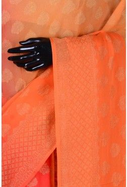 Pure Georgette Weaving Saree-Shaded Honey Yellow,Orange & Red-WI3472