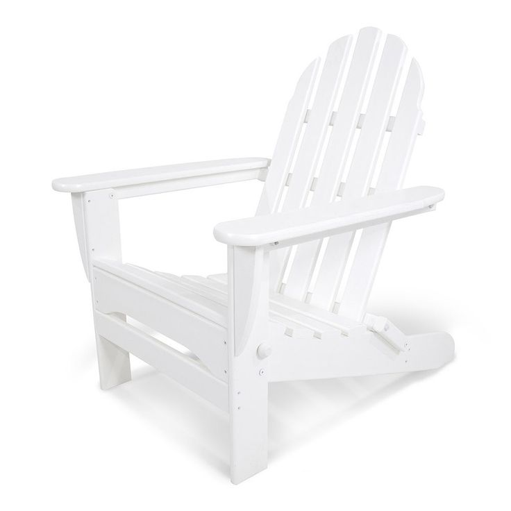 POLYWOOD Classic Folding Adirondack Chair - Outdoor, White
