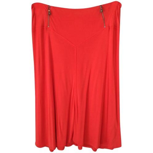 Gonna Versace in lycra arancio con zip gioiello 46