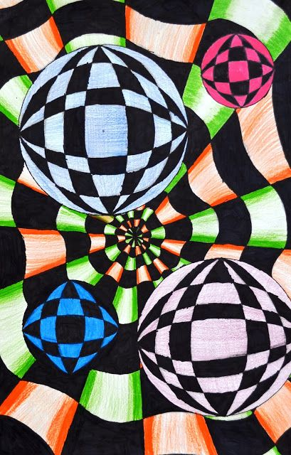 Op Art in the style of Bridget Riley   Lessons from the K-12 Art Room