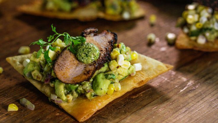 Bobby Flay's Red Chile Rubbed Pork on Tortilla Chips with Avocado Relish and Jalapeño Pesto Recipe
