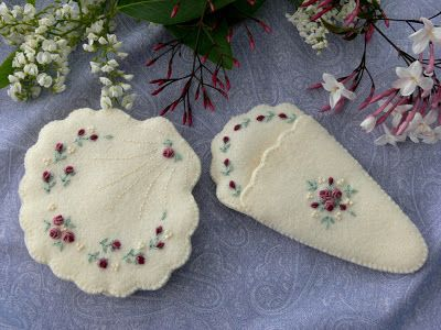 Shell of Roses needle case and scissor case set with beautiful grub rose embroidery. Val Laird Designs