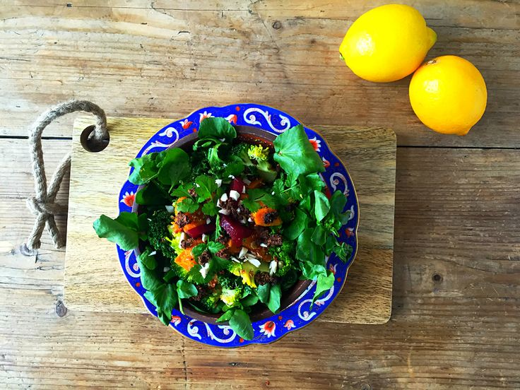 Moroccan style sweet potato & quinoa salad with pumpernickel & coriander granola- a deep flavoured warm spring salad with an added crunch !