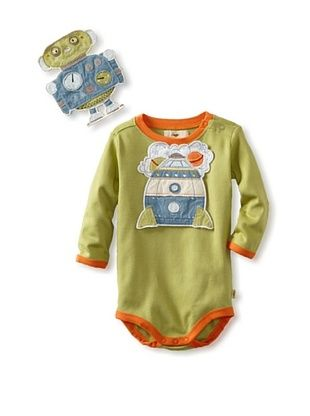 75% OFF Pickle Peas Baby Long Sleeved Bodysuit and Bib Bundle (Pickle Pea/Nectar)