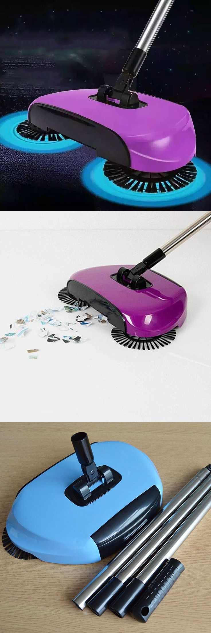 [Visit to Buy] 2017 Sweeping Machine Push Type Magic Broom Convenient Sweeper Dustpan Hand Vacuum Floor Robotic Vacuum Cleaner Automatic Home #Advertisement