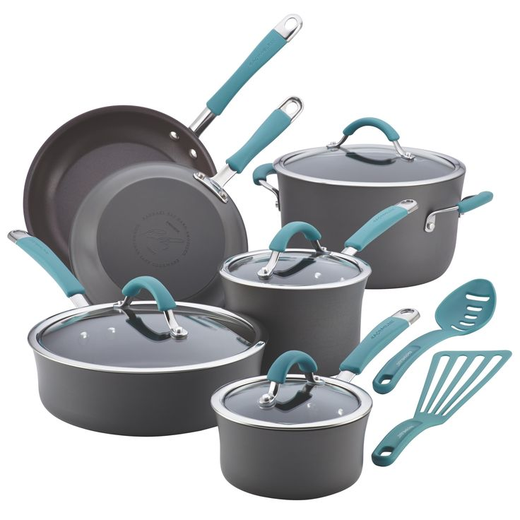 Share memorable meals with family and friends by preparing delicious foods with the inviting Rachael Ray Cucina hard-anodized nonstick cookware set. This durable set is sturdily crafted from hard-anodized aluminum which provides fast, even heating.