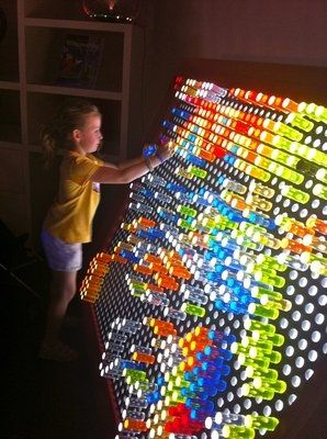 DIY full size Lite Brite! How cool would this be?! Do we think we could find someone to build this for us?