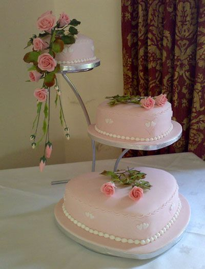 3 Tier Heart Shaped Wedding Cake Think Pink at your WEDDING! Light Pink Icing and Roses