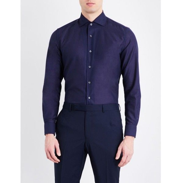 CORNELIANI Slim-fit single-cuff cotton shirt ($230) ❤ liked on Polyvore featuring men's fashion, men's clothing, men's shirts, men's dress shirts, mens banded collar dress shirts, mens french cuff shirts, mens button down collar shirts, mens slim shirts and mens collared shirts