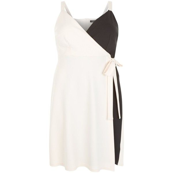 New Look Curves Black Colour Block Wrap Dress (£28) ❤ liked on Polyvore featuring dresses, black pattern, special occasion dresses, color block evening dress, holiday wrap dress, print cocktail dress and print dress