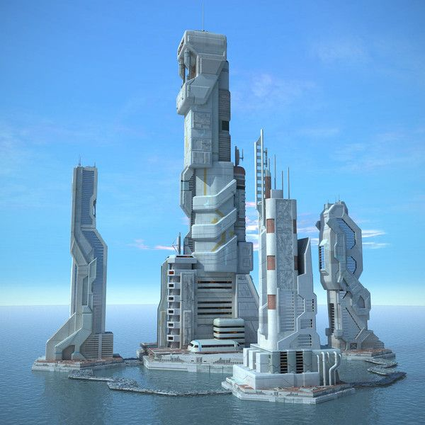 Sci Fi Futuristic City. Neat concept. Include solar power air and water vessels and its golden.