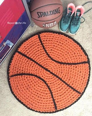 Crochet Basketball Rug - Repeat Crafter Me ~ what a great idea for a child that loves sports. ~ CROCHET