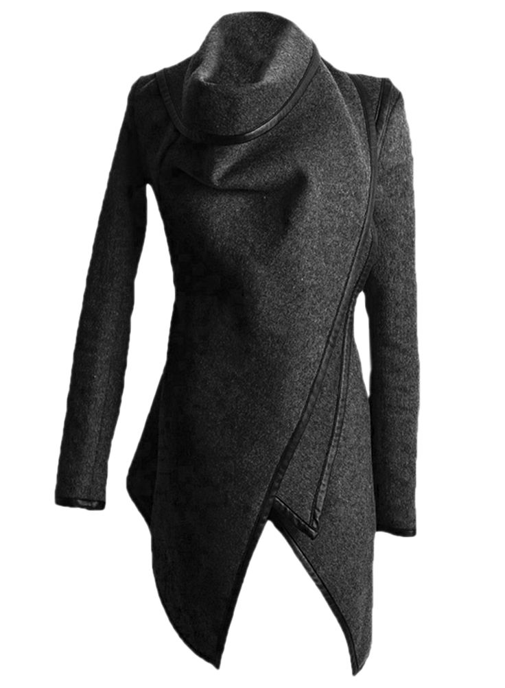 this trench coat crafted from texture fabric with a contrast trim, a turtleneck, a zippered long sleeve, and an irregular hemline.