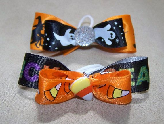 Dog Hair Bows Two Halloween Trick or Treat by CreateYourOwnDesign