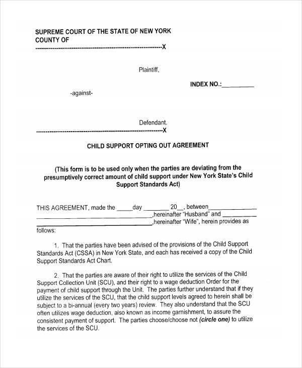 Free Sample Child Support Agreement Template Forms from i.pinimg.com