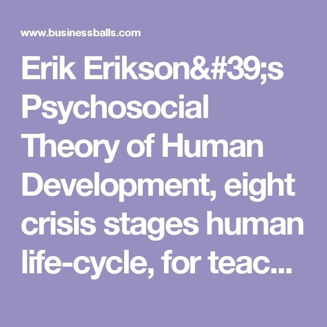 human development theory by erikson References & other links links check out these links for more information on  erik erikson and his theory ofpsychosocial development (links are to local files.