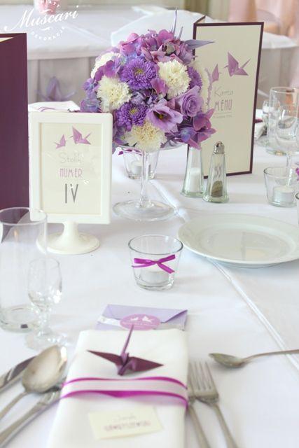 Kwiaty i żurawie - wesele w Pałacu Obory   Muscari